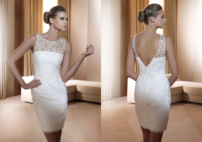 Стильное короткое свадебное платье